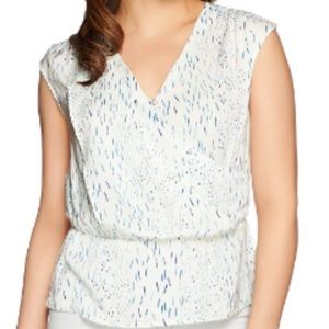 H by Halston Printed V-Neck Wrap Front Blouse